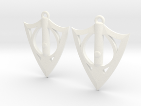 Broadarrow Earrings in White Processed Versatile Plastic