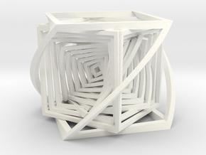 The Bend Cube.  in White Processed Versatile Plastic