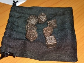 Dragon Dice Set in Matte Bronze Steel