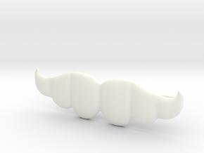 """Brazilian"" Moustache Tie Bar (Plastics) in White Processed Versatile Plastic"
