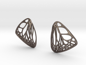 Butterfly Earrings (S) Plastic in Polished Bronzed Silver Steel