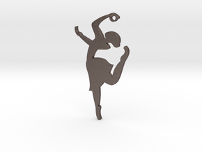"""Grace & Poise"" Ballerina Pendant in Polished Bronzed Silver Steel"