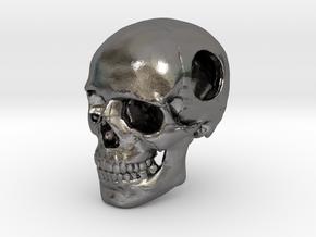 18mm .7in Bead Human Skull Crane Schädel че́реп in Polished Nickel Steel