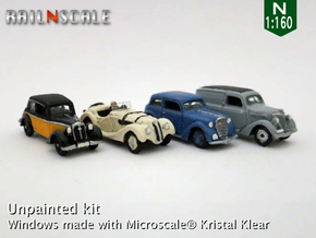 German 1930s cars (SET A) N 1:160 in Smooth Fine Detail Plastic