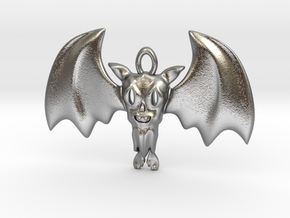Little Toothy Fun Bat Pendant in Natural Silver