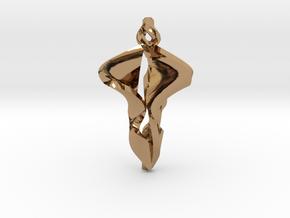 Pendant, Stylized 2 in Polished Brass