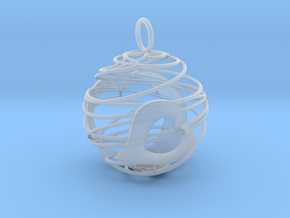 Christmas Bauble 2 in Smooth Fine Detail Plastic