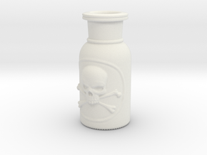 Skull and Crossbones Poison Bottle  in White Natural Versatile Plastic
