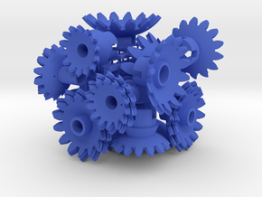Blue Gears & Tiles for the Multi-Gear Cube Kit in Blue Processed Versatile Plastic