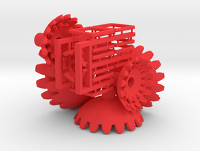 Red Gears & Tiles for the Multi-Gear Cube Kit  in Red Processed Versatile Plastic