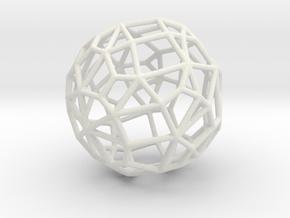 Irregular Wireframe Spherical Bead in White Natural Versatile Plastic