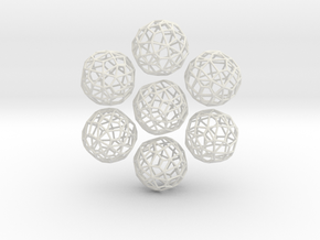 Irregular Wireframe Spherical Beads x6 in White Natural Versatile Plastic