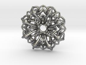 Mandala Flow Pendant in Natural Silver