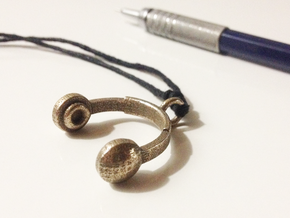 Headphones Pendant / Keychain in Polished Bronzed Silver Steel