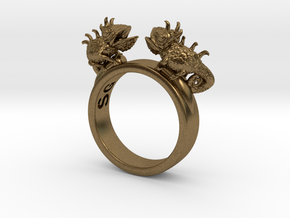 Twin Chameleon Ring in Natural Bronze