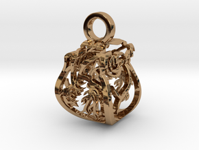 Heart of Roses Perspective Pendant in Polished Brass