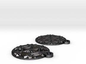 Snowflake Earrings (Plate) in Polished Grey Steel