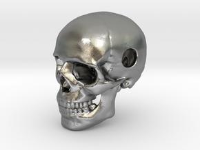 25mm 1in Bead Human Skull Pendant Crane Schädel in Natural Silver
