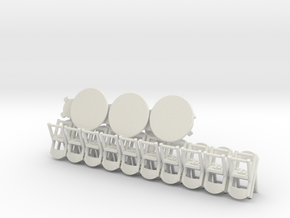 20 Folding Chairs and 6 Round Tables in White Strong & Flexible