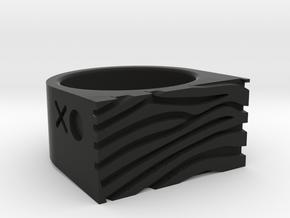 Zebra Ring in Black Natural Versatile Plastic