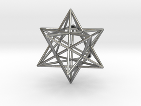 Stellated Dodecahedron 35mm in Natural Silver