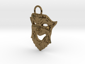Laughing Greek Mask Pendant 1.5inches in Polished Bronze