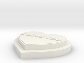 Heart I LOVE YOU in White Natural Versatile Plastic