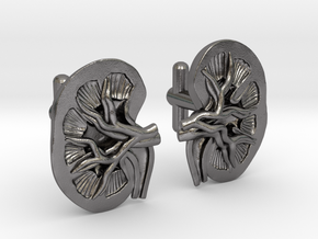 Anatomical Kidney Cufflinks in Polished Nickel Steel