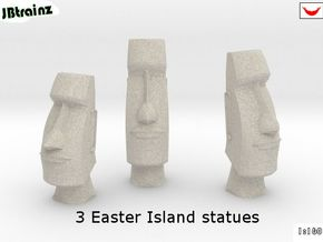 3 Easter Island statues (1:160) in Natural Sandstone