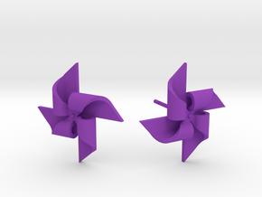 Pinwheel Earring Large size in Purple Processed Versatile Plastic