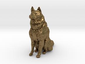 Dog Figurine - Sitting Finnish Spitz (hollow) in Natural Bronze