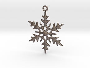 Little Romantic Snowflake Pendant in Polished Bronzed Silver Steel