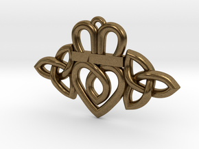 Claddagh Triquetra Pendant in Natural Bronze