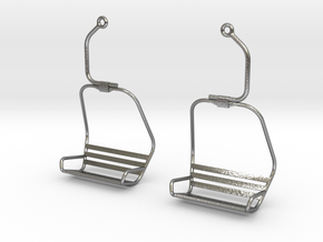 Ski Lift Chair Ear Rings in Natural Silver
