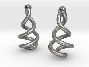 Helixial Circular Ear Rings in Natural Silver