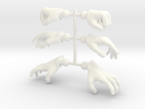 Warrior Hands 3-Pack 1 in White Processed Versatile Plastic