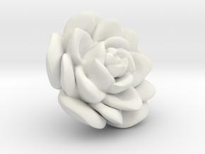 Medium Size Rose  in White Natural Versatile Plastic