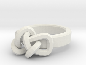 Womens Endless Knot Ring Size 7 in White Natural Versatile Plastic