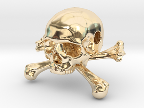 35mm 1.4in Bead Skull & Bones Pendant Crane in 14K Yellow Gold