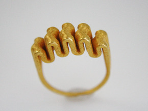 Ripple Ring - US Size 07 in Polished Gold Steel