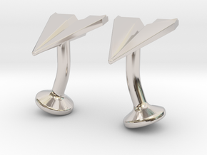 Paper Airplane Cufflinks in Platinum