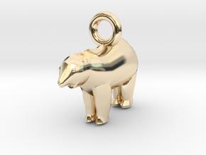 Polar Bear Pendant in 14K Yellow Gold