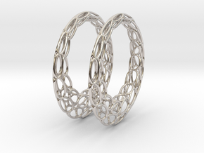 Round Wire Hoop Earrings 50mm in Platinum