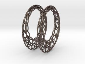 Round Wire Hoop Earrings 50mm in Polished Bronzed Silver Steel