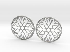 Snowflake Hoop Earrings 40mm in Natural Silver