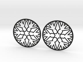 Snowflake Hoop Earrings 40mm in Black Natural Versatile Plastic
