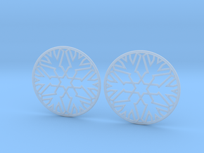 Snowflake Hoop Earrings 40mm in Smooth Fine Detail Plastic
