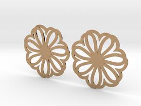 Seven Heart Hoop Earrings 40mm in Polished Brass