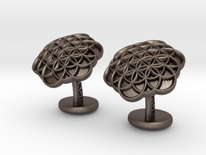 Flower of Life Cufflinks in Polished Bronzed Silver Steel