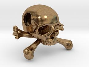 25mm 1in Bead Skull & Bones Pendant Crane in Natural Brass